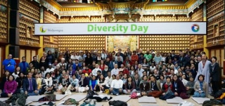 Group photo of all the CBD COP12 Participants who were present at the declaration announcement. [Photo credit: Woljeongsa Temple Facebook Page]